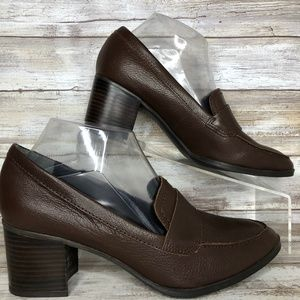 Franco Sarto Aloma 8.5M Brown Leather Moc Toe Pump